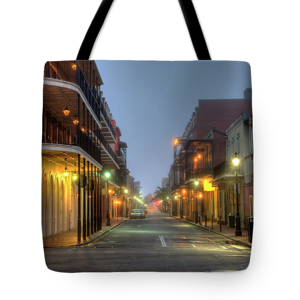 Built Structure Tote Bag featuring the photograph Bourbon Street by Denistangneyjr