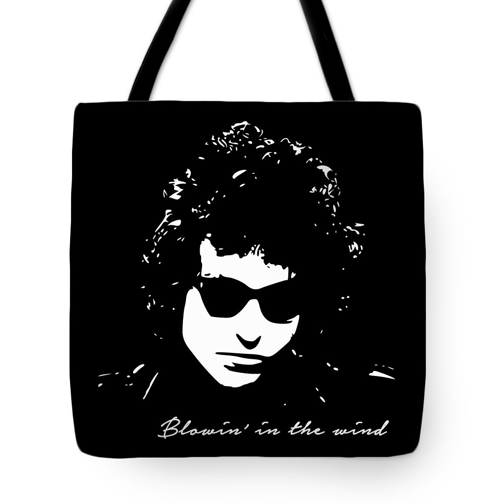 Bob Dylan Tote Bag featuring the digital art Bowin' In The Wind by Filip Schpindel