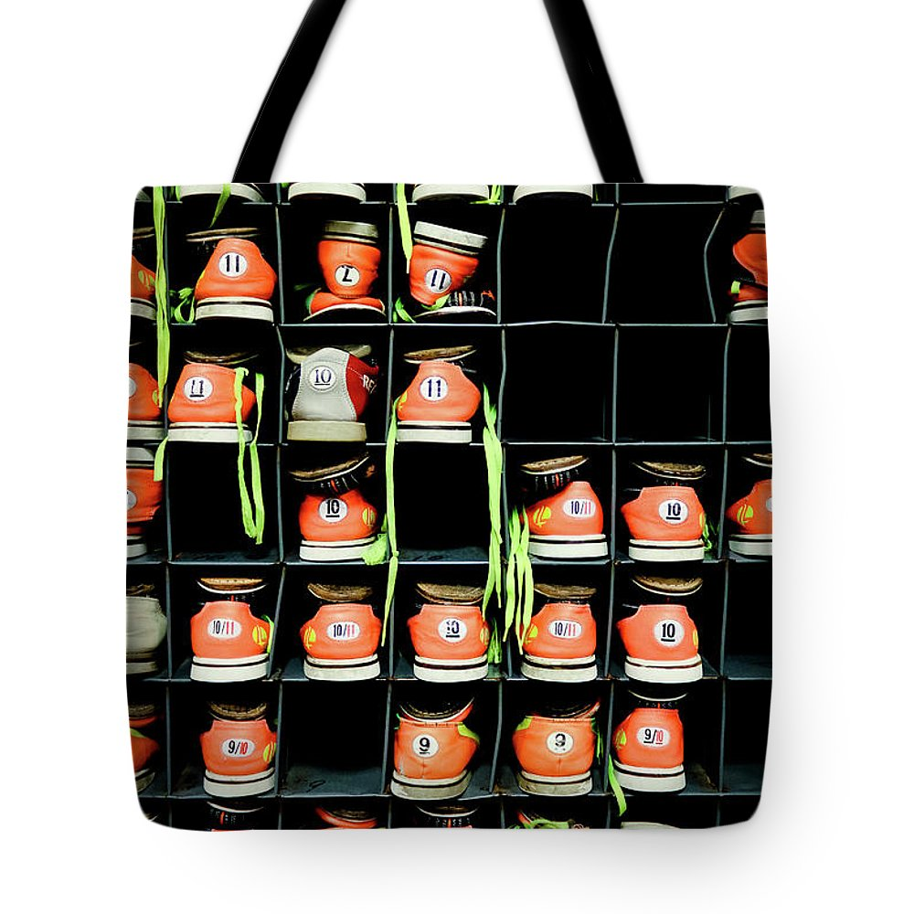 Orange Color Tote Bag featuring the photograph Bowling Shoes by Christian Bird