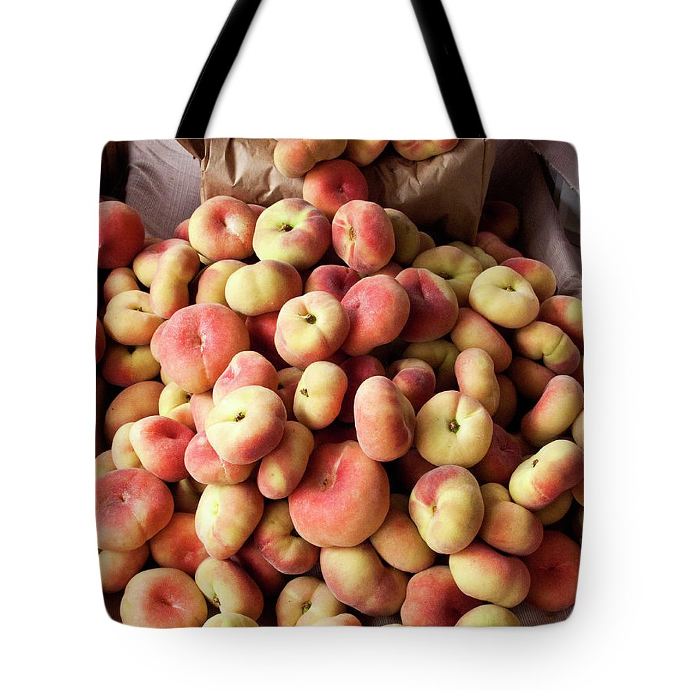 Retail Tote Bag featuring the photograph Box Of Donut Peaches At A Farmers Market by Bill Boch