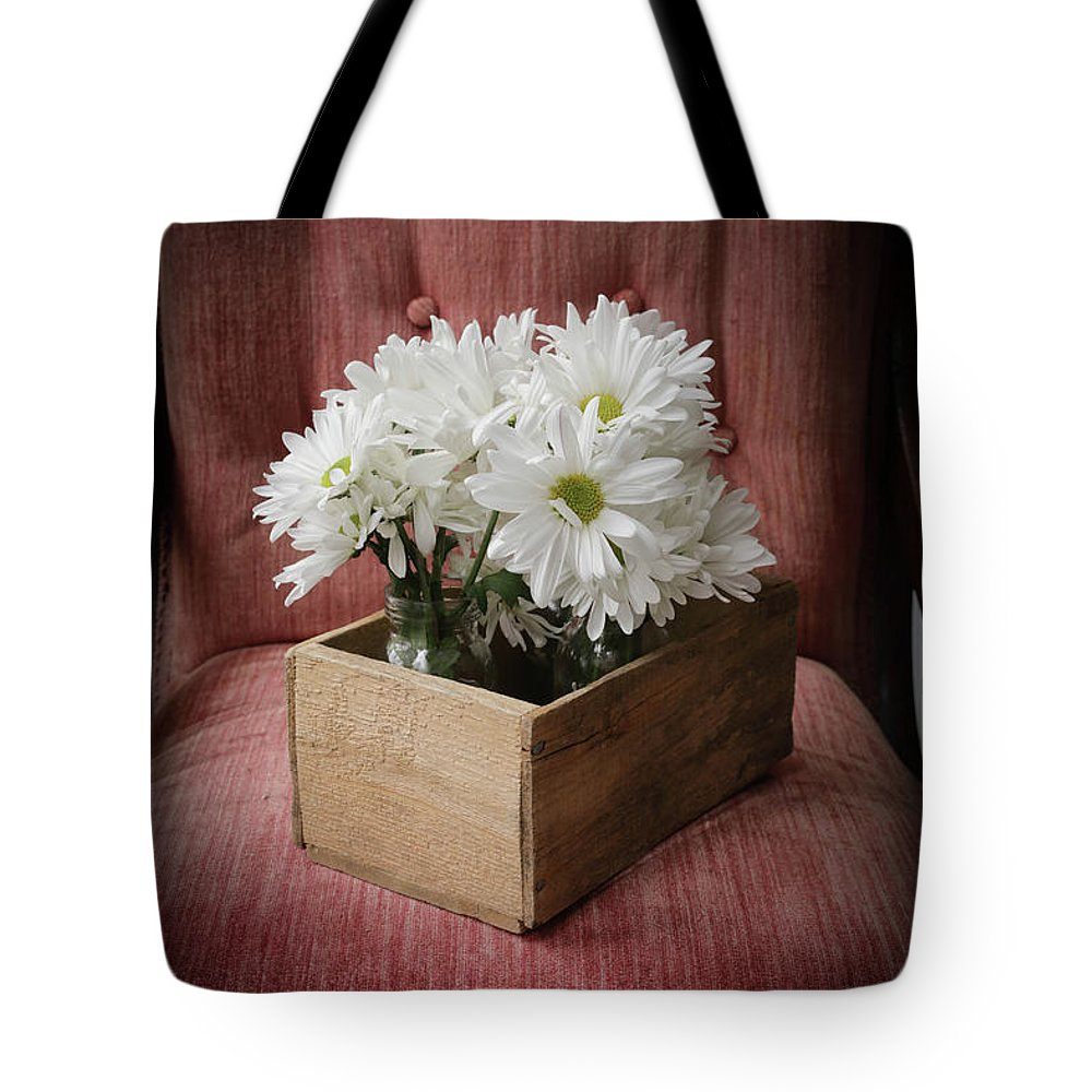 Daisy Tote Bag featuring the photograph Box Of Flowers by Edward Fielding