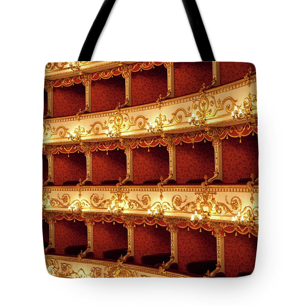 Event Tote Bag featuring the photograph Boxes Of Italian Antique Theater by Naphtalina