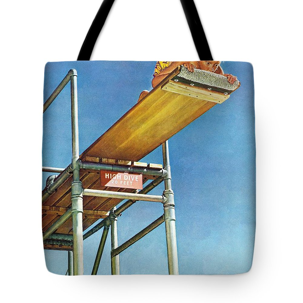 Boy Tote Bag featuring the drawing Boy On High Dive by Norman Rockwell