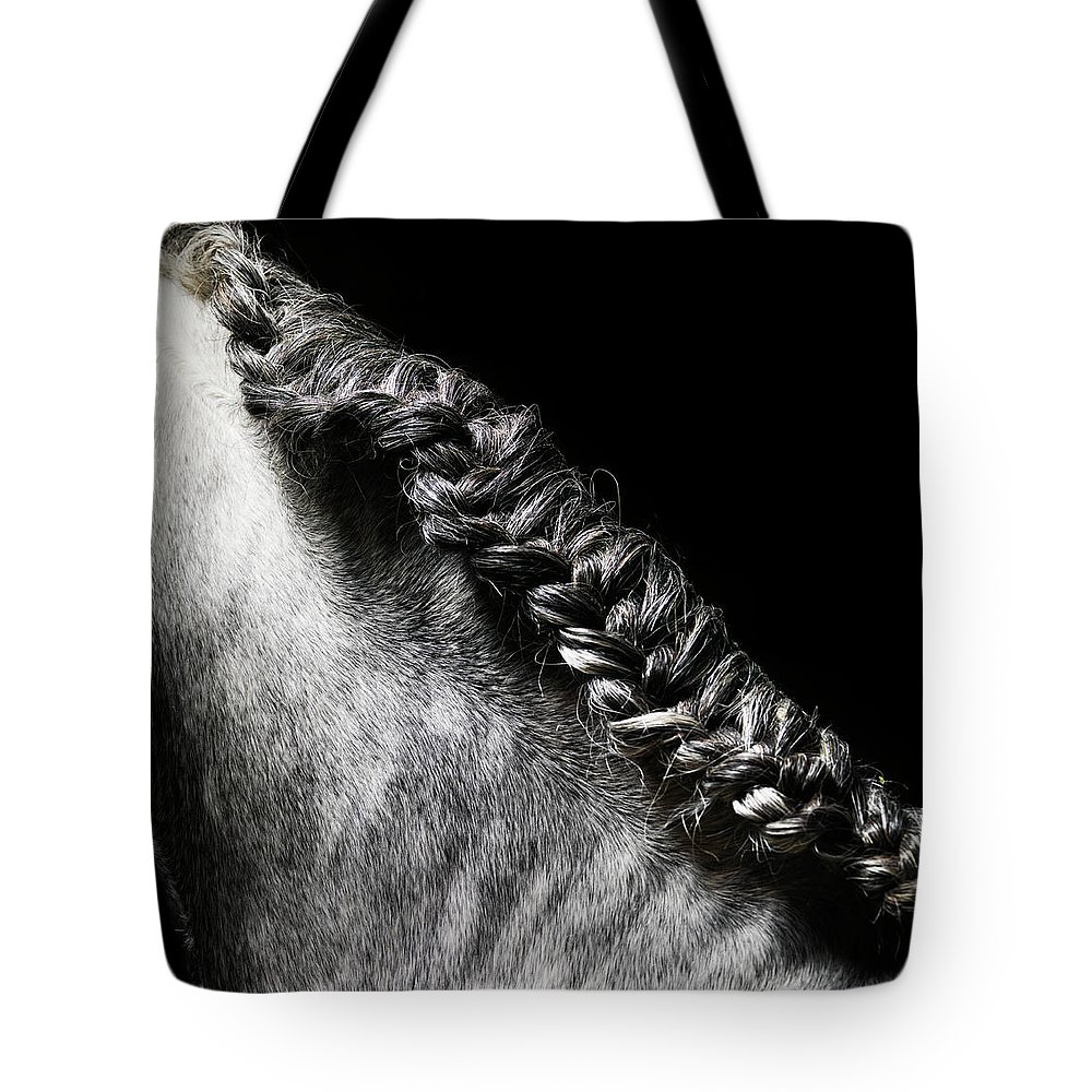 Horse Tote Bag featuring the photograph Braided Mane Of Grey Horse by Henrik Sorensen