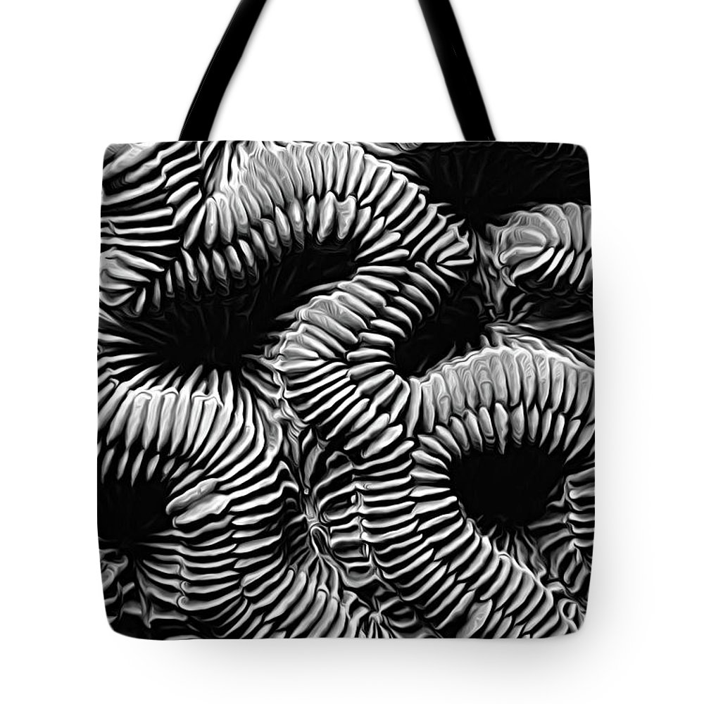 Brain Coral Tote Bag featuring the photograph Brain Coral In Macro Bw by Mike Nellums