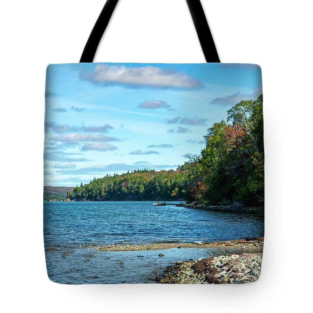 Autumn Tote Bag featuring the digital art Bras D'or Lake, Cape Breton Nova Scotia, Canada by Ken Morris