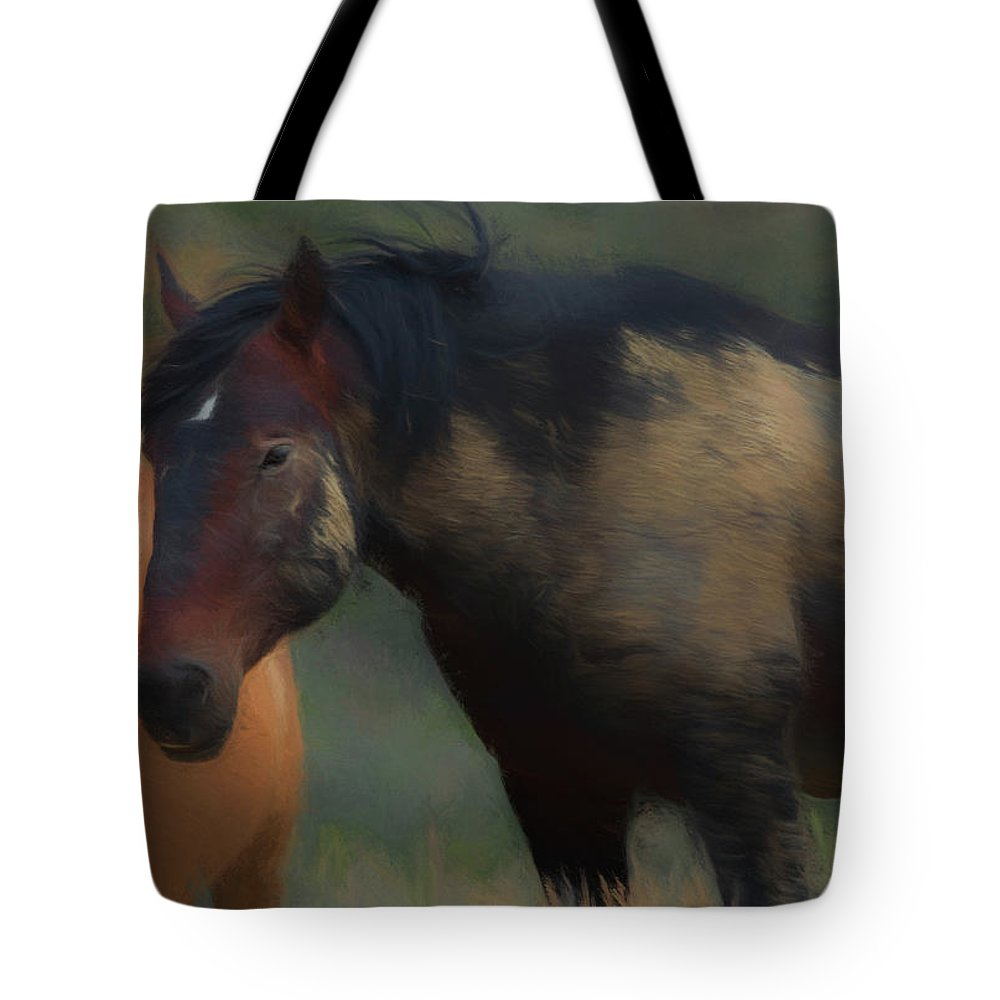 Wild Mustang Tote Bag featuring the digital art Brave by Fine Art Western Paintings