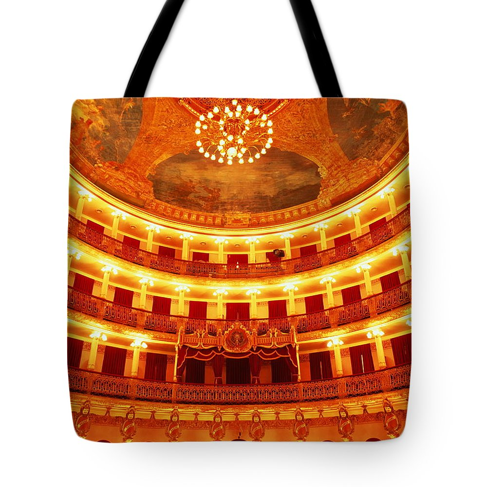 Ceiling Tote Bag featuring the photograph Brazil, Manaus, Teatro Amazonas Opera by Will & Deni Mcintyre