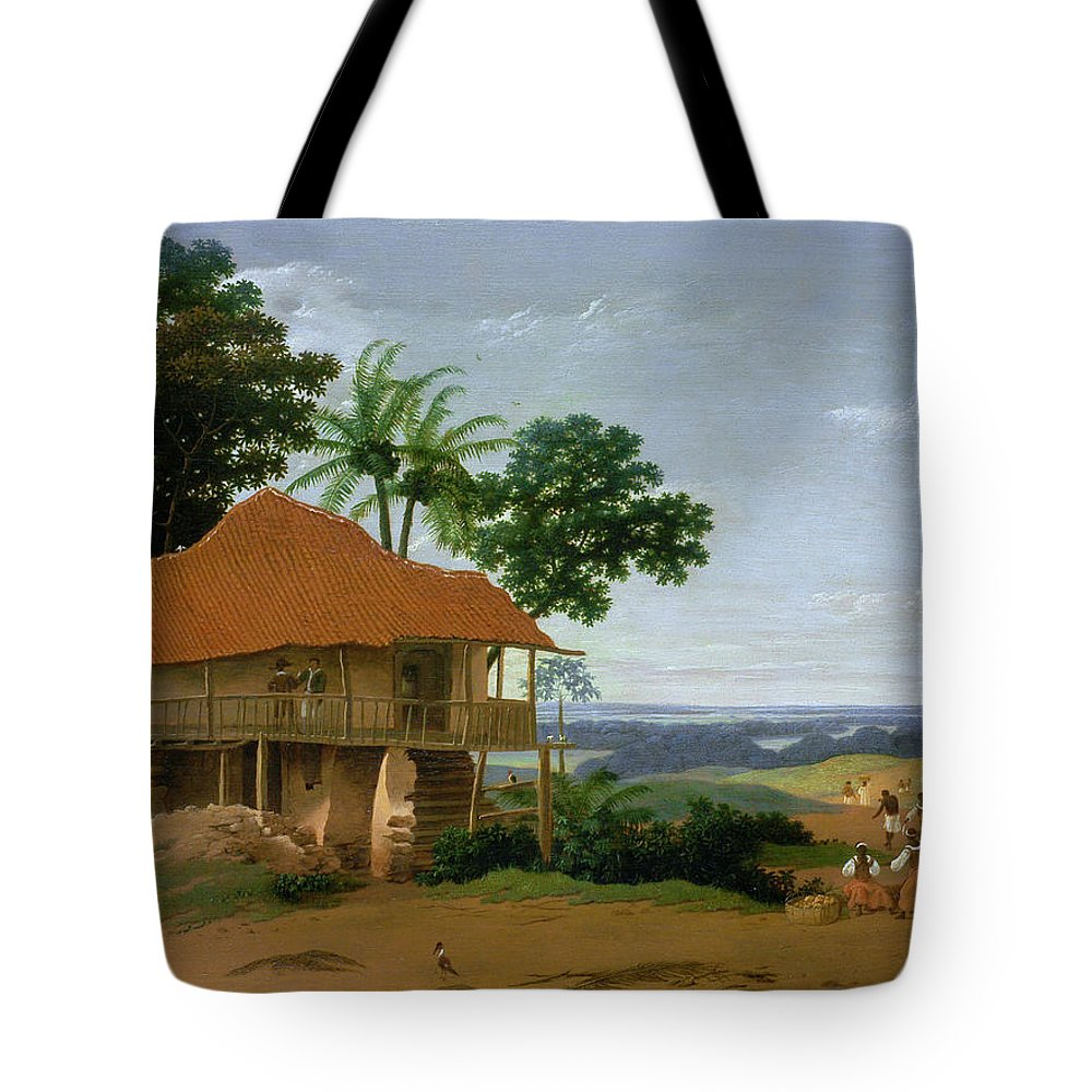 Frans Post Tote Bag featuring the painting Brazilian Landscape With A Worker  S House by Frans Post