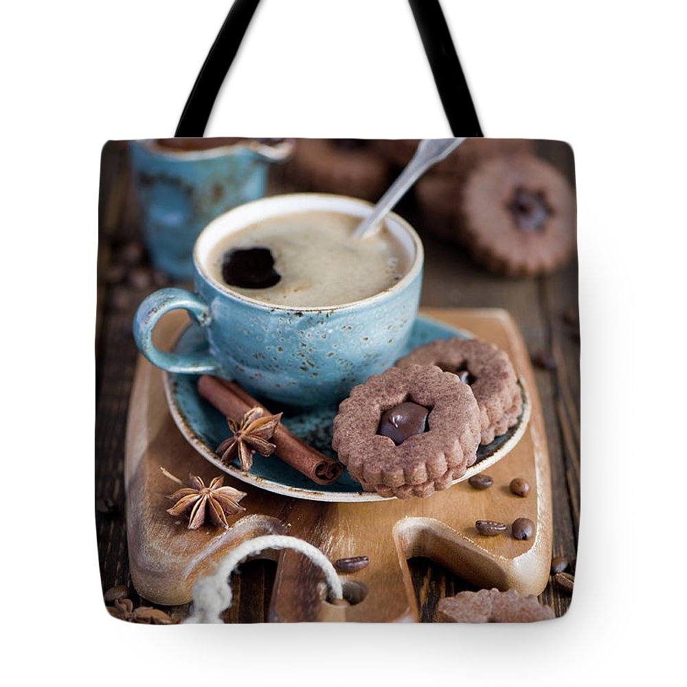 Breakfast Tote Bag featuring the photograph Breakfast Coffee And Chocolate Cookies by Verdina Anna