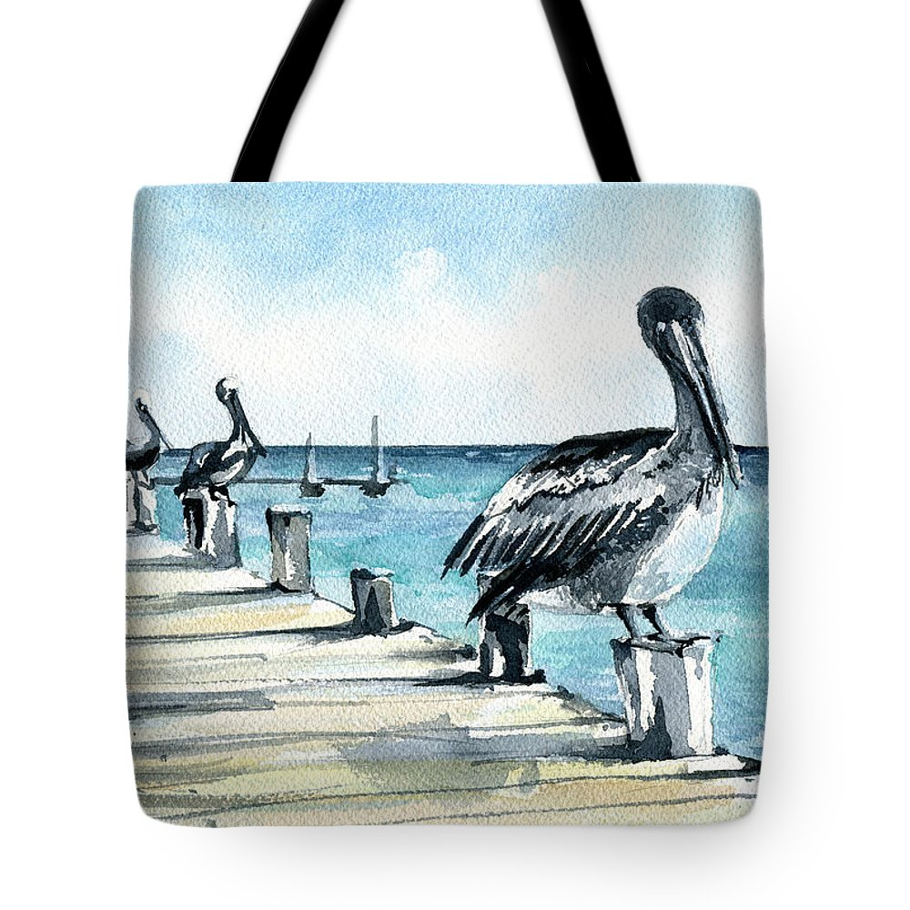Pelican Tote Bag featuring the painting Breakfast For Four by Dora Hathazi Mendes