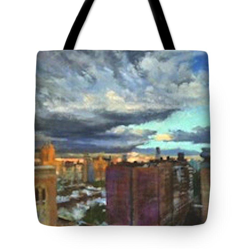 New York Tote Bag featuring the painting Breaking Clouds At Sunset by Peter Salwen