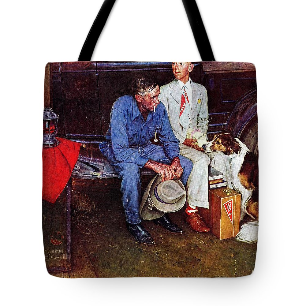 College Tote Bag featuring the drawing Breaking Home Ties by Norman Rockwell