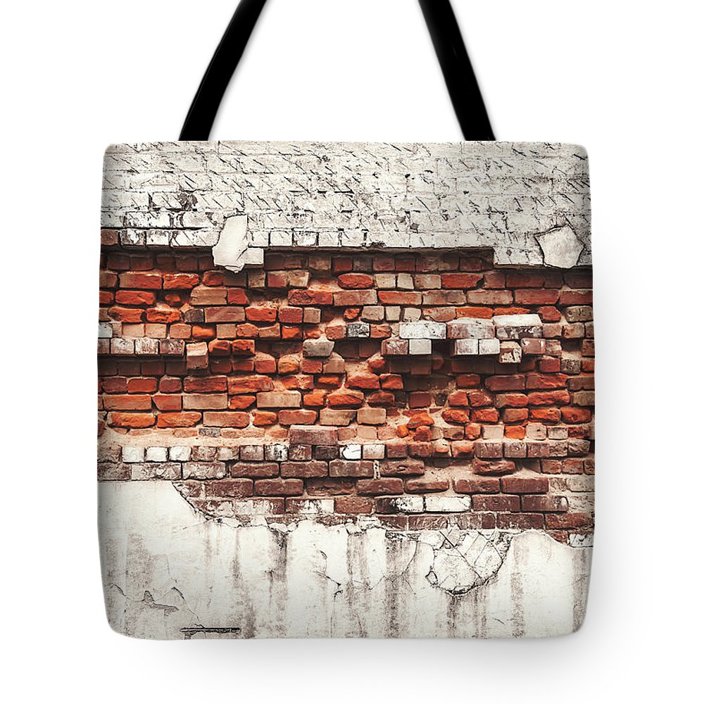 Tranquility Tote Bag featuring the photograph Brick Wall Falling Apart by Ty Alexander Photography