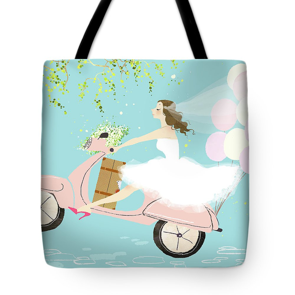 People Tote Bag featuring the digital art Bride On Scooter by Eastnine Inc.