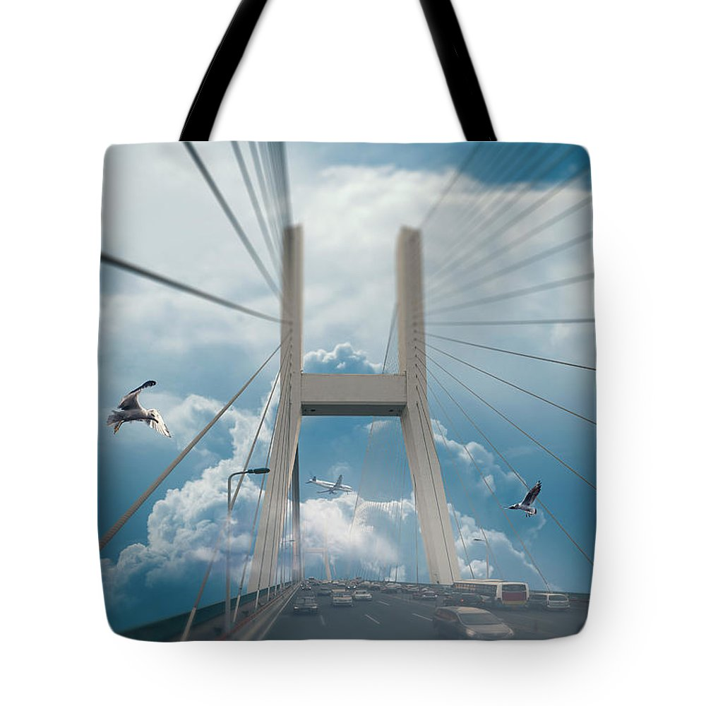 Photo Tote Bag featuring the digital art Bridge In The Clouds by Dejan Jekic
