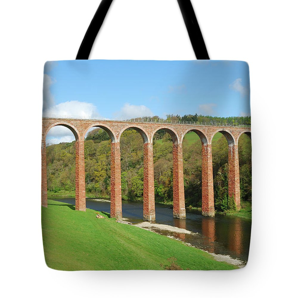 Bridge Tote Bag featuring the photograph bridge over river Tweed near Melrose by Victor Lord Denovan