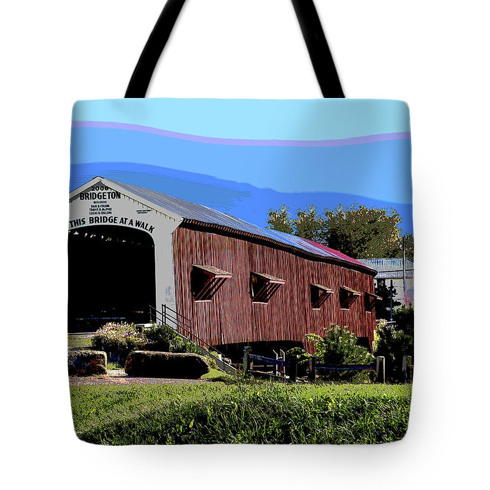 America Tote Bag featuring the mixed media Bridgeton Covered Bridge by Charles Shoup