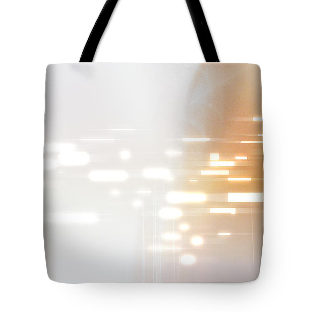 Motion Tote Bag featuring the digital art Bright Lights Abstract by Stockbyte
