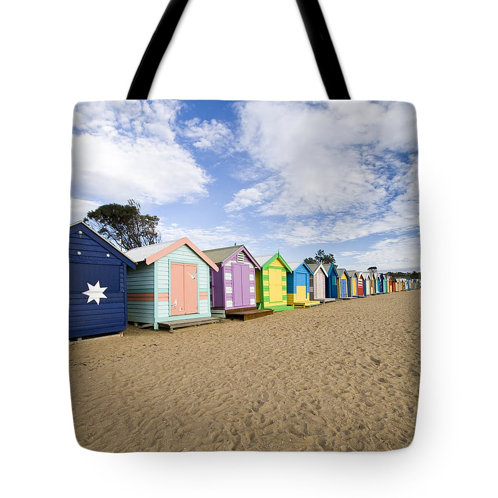 Steps Tote Bag featuring the photograph Brighton Beach Huts by Samvaltenbergs