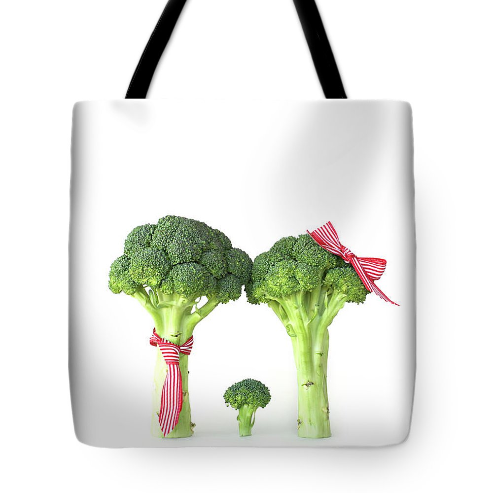 Broccoli Tote Bag featuring the photograph Broccoli Dad, Mom And Baby by Stephanie Mull Photography