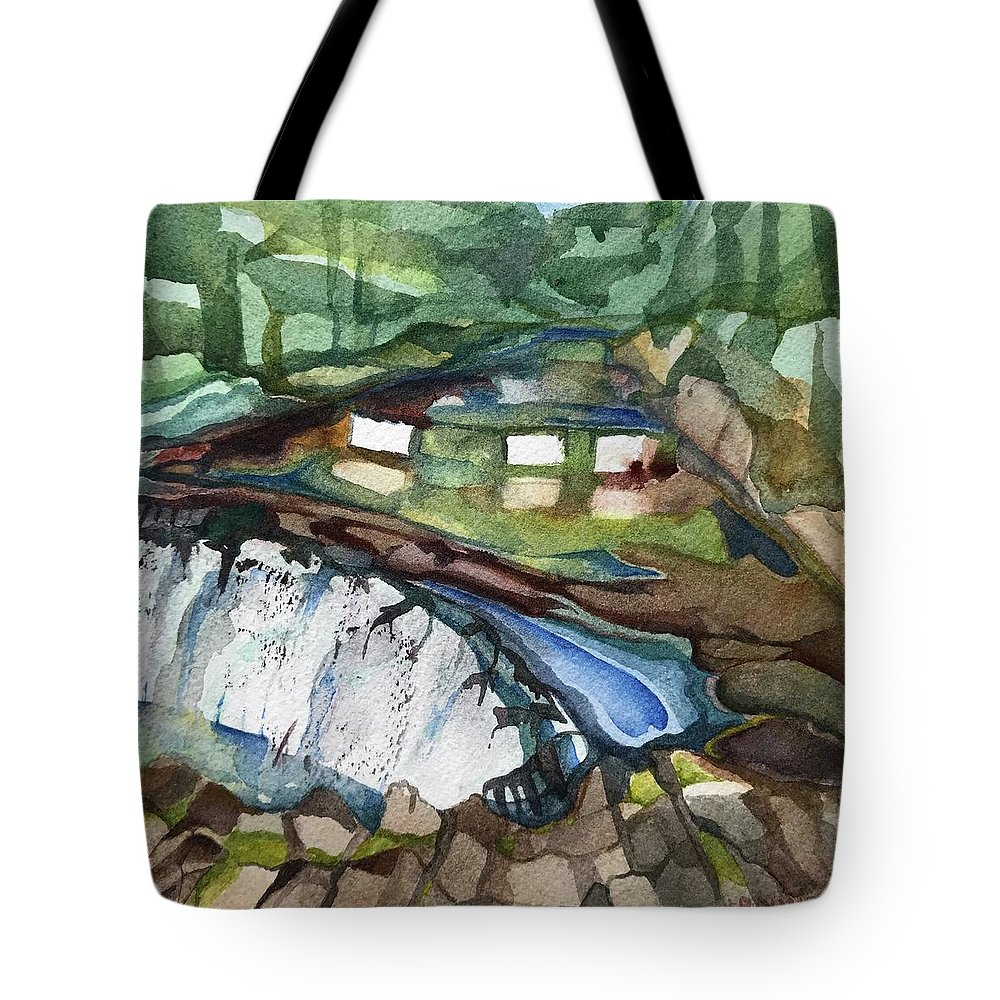 Bronx River Tote Bag featuring the painting Bronx River Falls by Lynne Bolwell