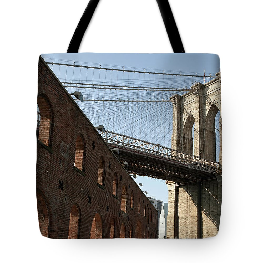 Arch Tote Bag featuring the photograph Brooklyn Bridge & Empire Fulton Ferry by Just One Film