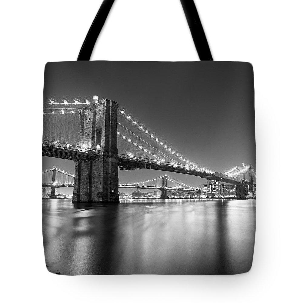 Scenics Tote Bag featuring the photograph Brooklyn Bridge At Night by Adam Garelick