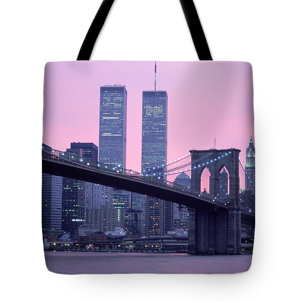Dawn Tote Bag featuring the photograph Brooklyn Bridge, Twin Towers, Nyc, Ny by Barry Winiker
