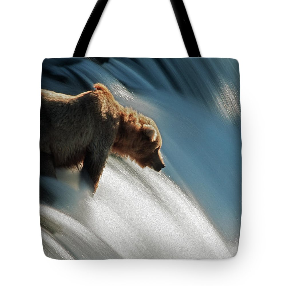 Poetry- Literature Tote Bag featuring the photograph Brown Bear At Brooks Falls by Mark Newman