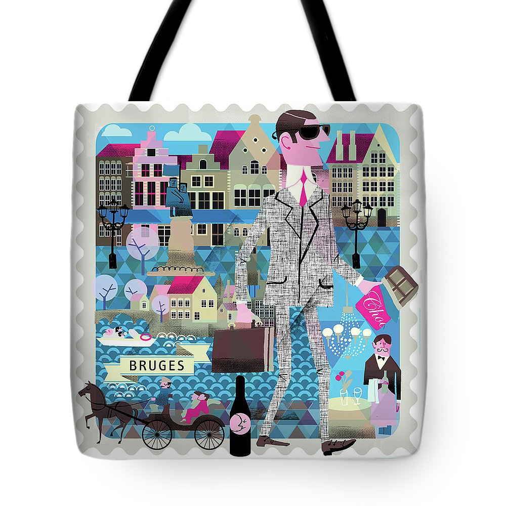 Belgium Tote Bag featuring the digital art Bruges by Luciano Lozano