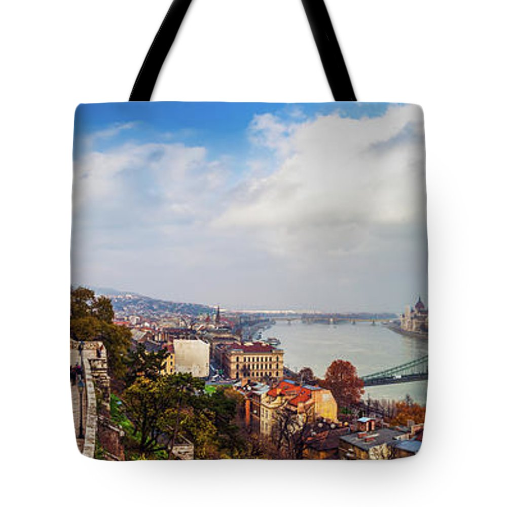 Hungarian Parliament Building Tote Bag featuring the photograph Budapest - Sweeping View by John And Tina Reid
