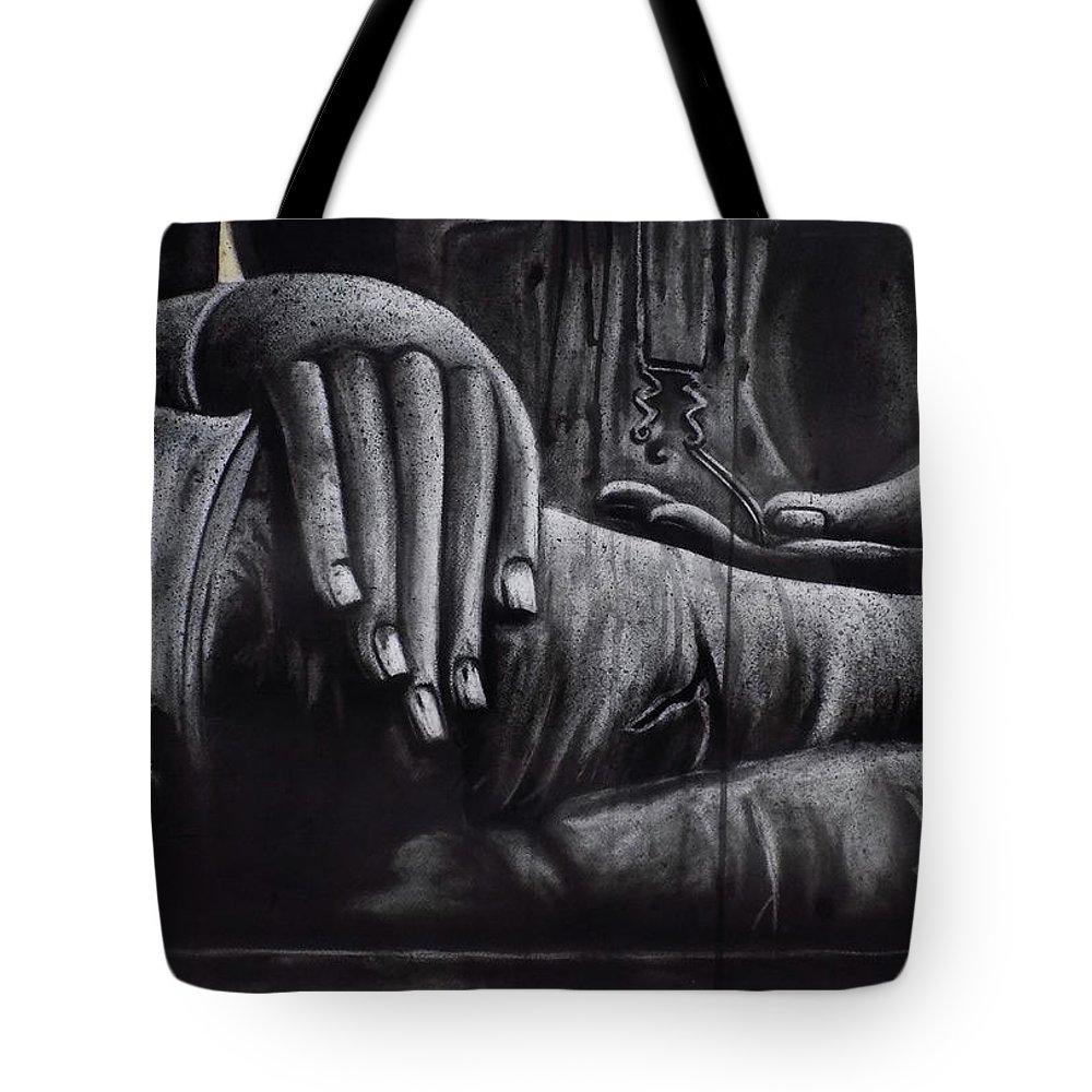 Buddha Tote Bag featuring the mixed media Buddha by Kamaldeep Kaur