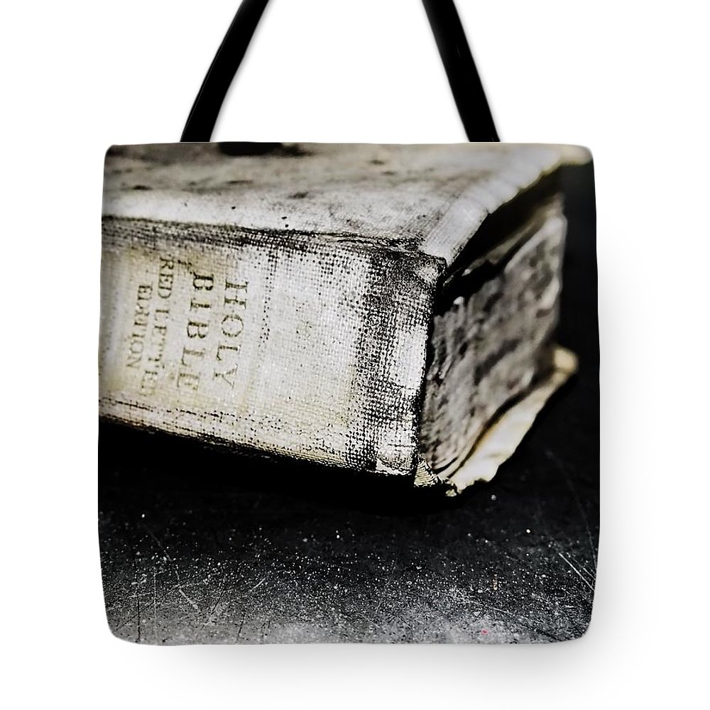 Holybible Bible Drama Burned Ruined Closeup Macro God Christ Book Left Behind Old Classic Vintage Gothic Floor Tote Bag featuring the photograph A Book Of Survival by Salvatore Sgroi