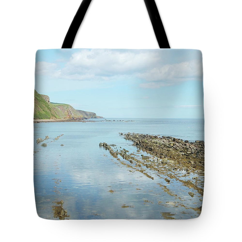Burnmouth Tote Bag featuring the photograph Burnmouth Shore, Cliffs And North Sea by Victor Lord Denovan