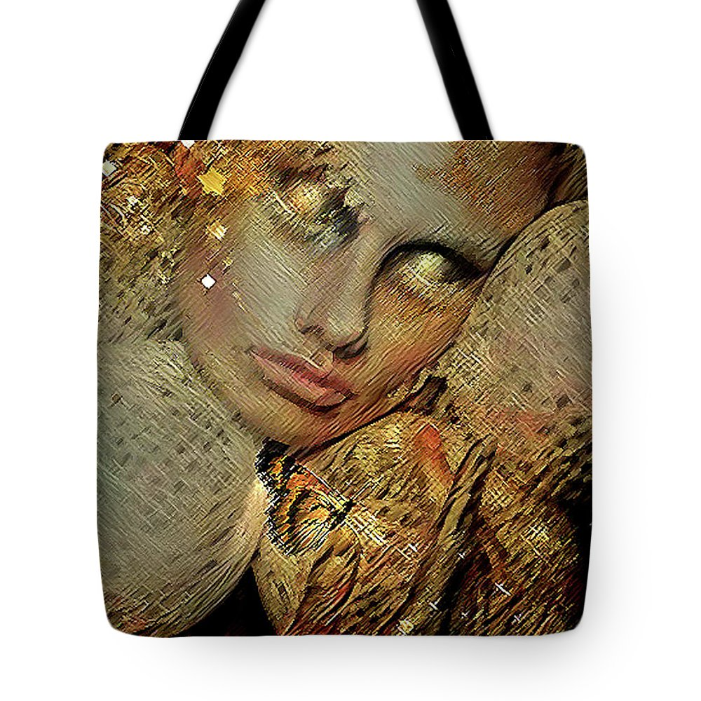 Gold Tote Bag featuring the mixed media Butterflies Are Like Guardian Angels 002 by G Berry