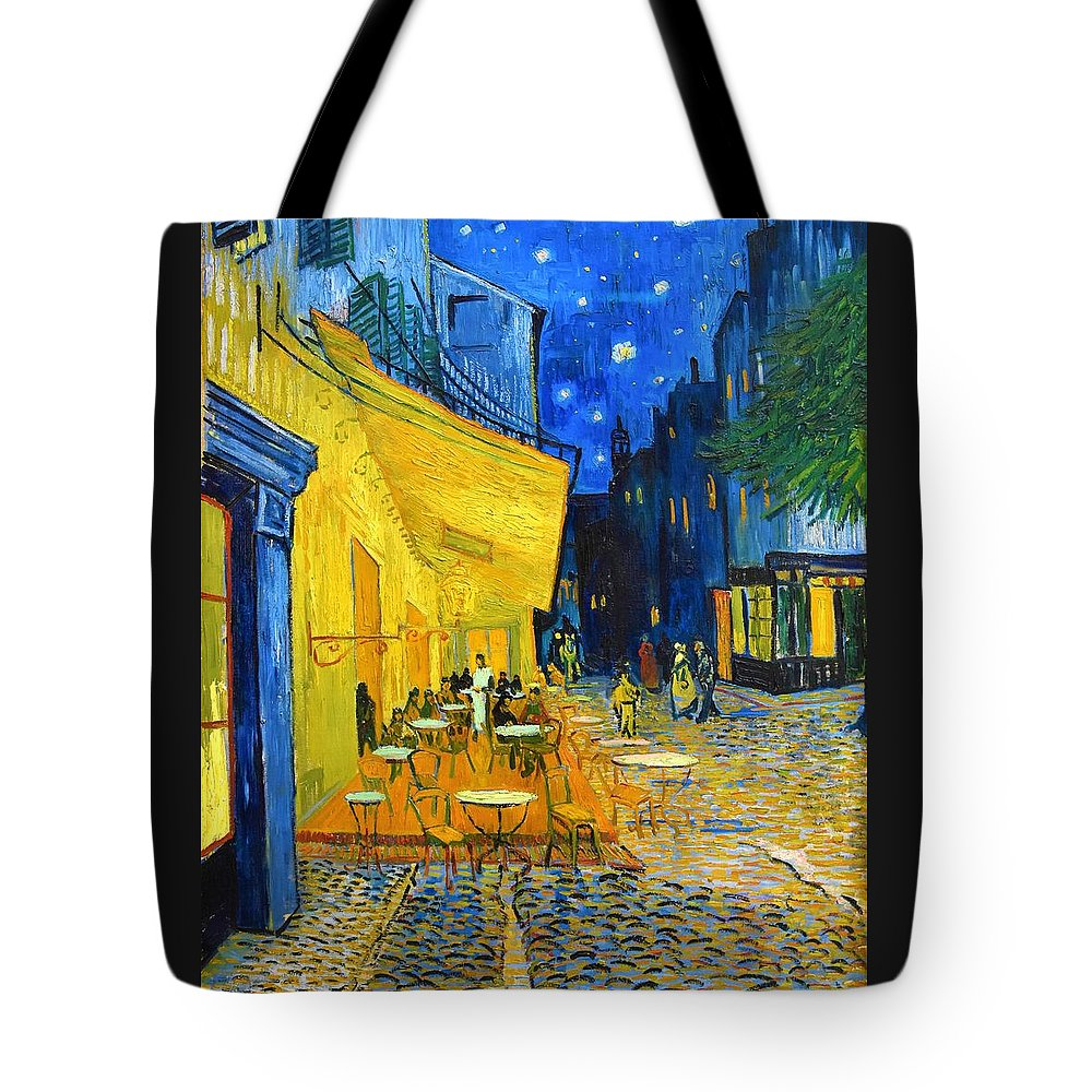 Vincent Van Gogh Tote Bag featuring the painting Cafe Terrace At Night - Digital Remastered Edition by Vincent van Gogh