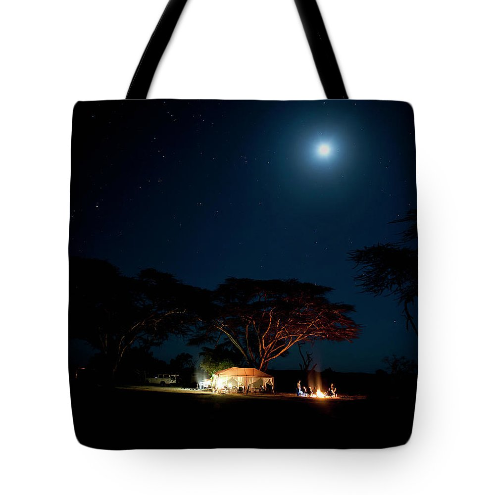 Tranquility Tote Bag featuring the photograph Camping Under Fever Tree And Full Moon by Mike D. Kock