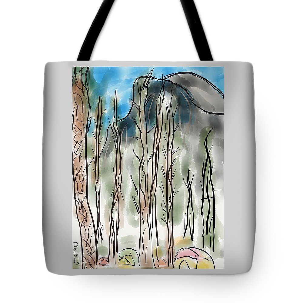 Yosemite Tote Bag featuring the digital art Camping Under Half Dome by Marvin Campbell