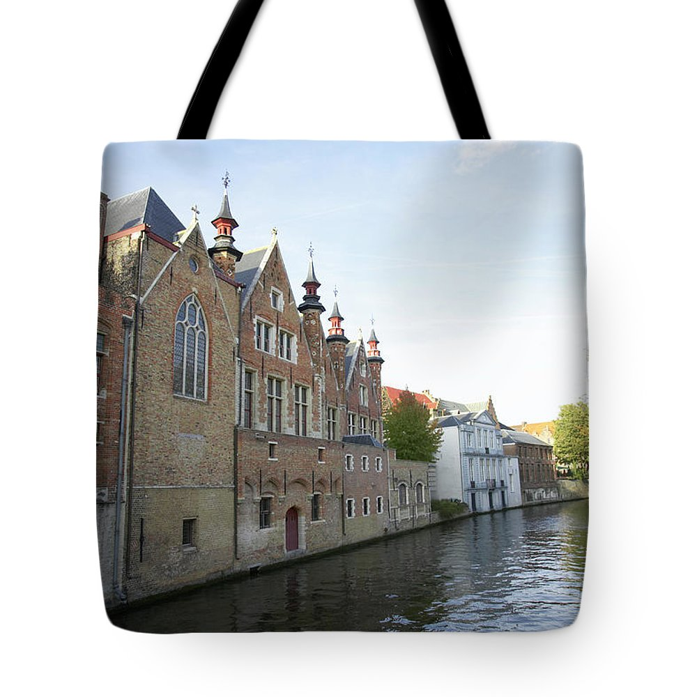 Old Town Tote Bag featuring the photograph Canal In The Old Town Of Brugge by Christof Koepsel