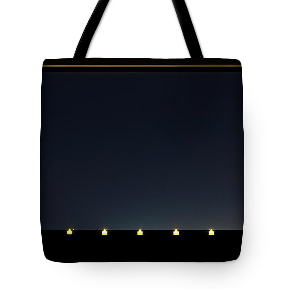 Empty Tote Bag featuring the photograph Candles In A Row By The Window by Sot