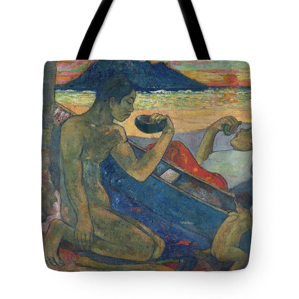 Paul Gauguin Tote Bag featuring the painting Canoe, Tahitian Family, 1896 by Paul Gauguin