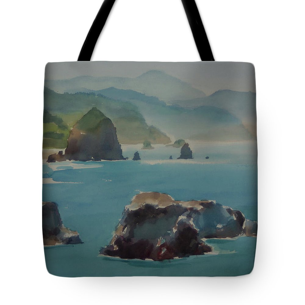 Landscape Tote Bag featuring the painting Canon Beach by Hwang-Nam Chang