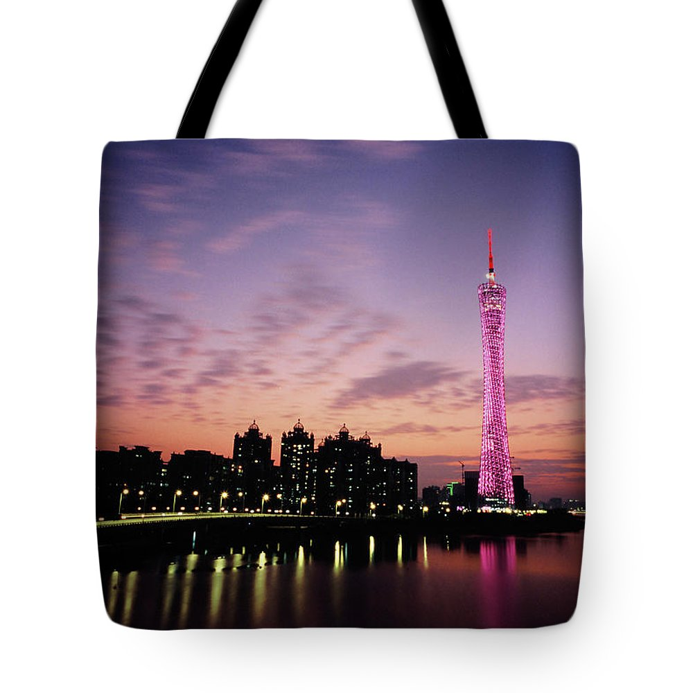 Built Structure Tote Bag featuring the photograph Canton Tv Tower In Sunset Glow by Jimmy Tsang
