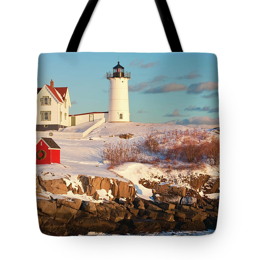 Snow Tote Bag featuring the photograph Cape Neddick Nubble Light by Kickstand