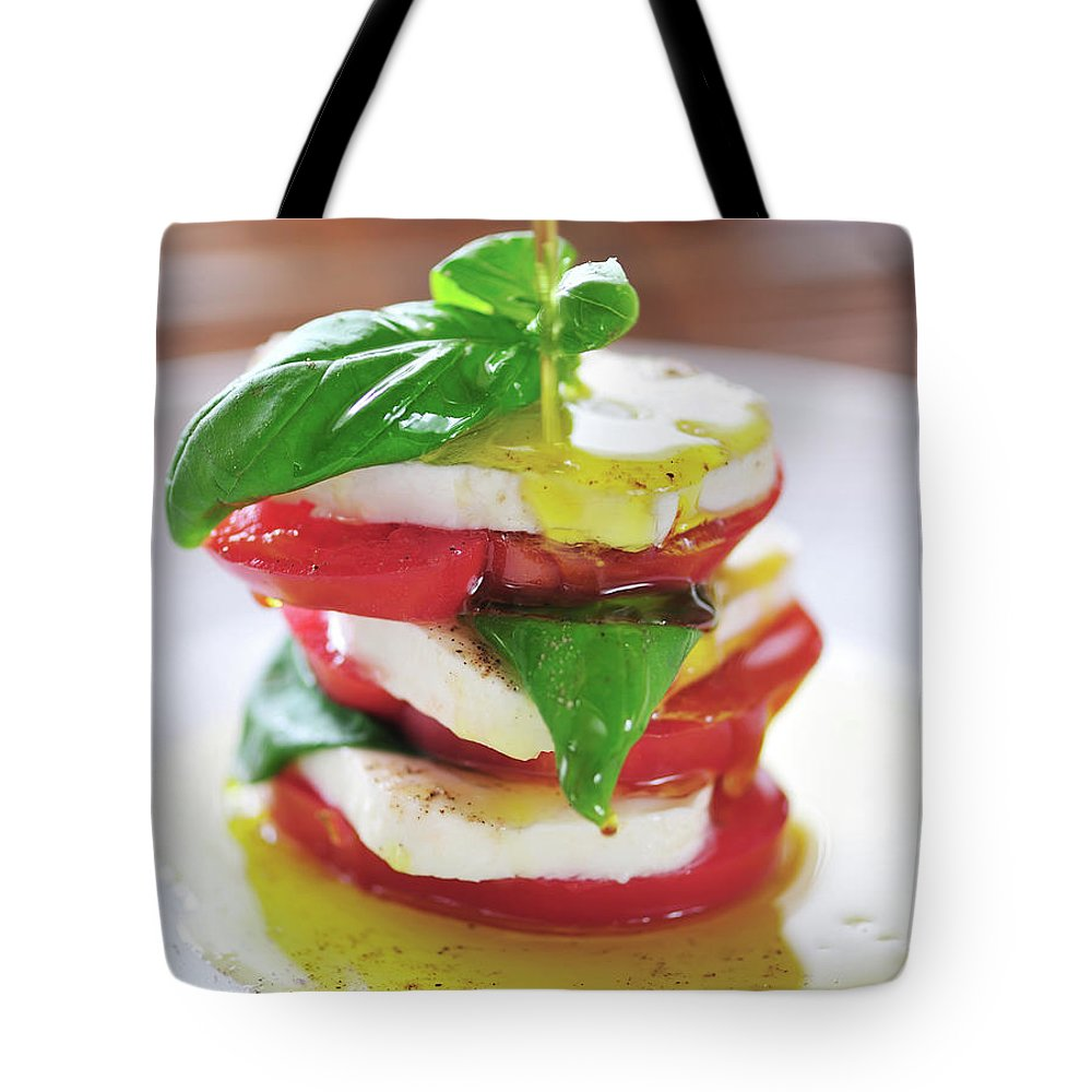 Caprese Salad Tote Bag featuring the photograph Caprese by Tanya f