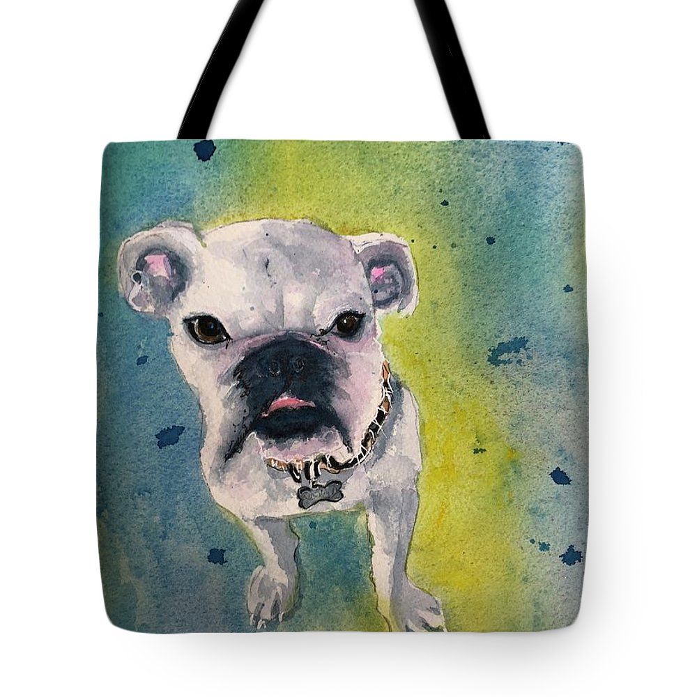 English Bulldog Tote Bag featuring the painting Captain by Midge Pippel