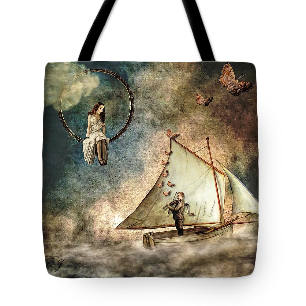 Boat Tote Bag featuring the digital art Captive Audience by Pamela Perkins