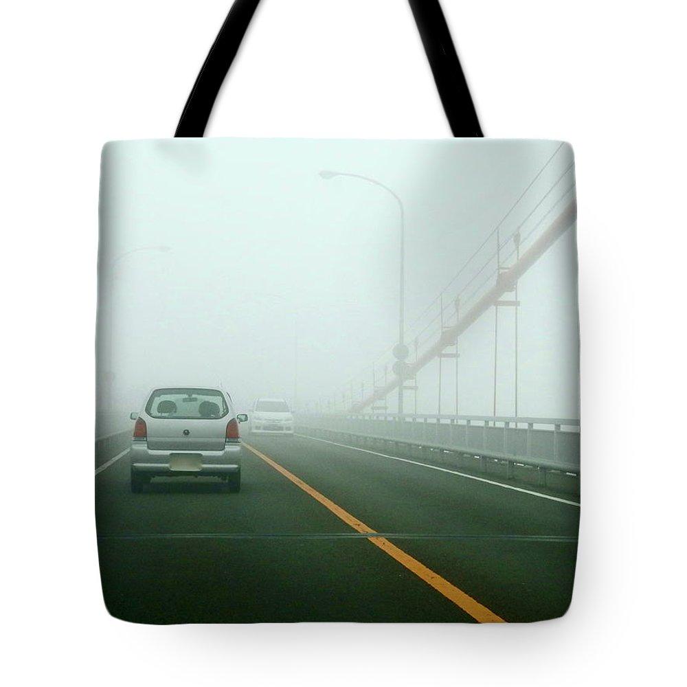 Dawn Tote Bag featuring the photograph Car Crossing Bridge by Kurosaki San