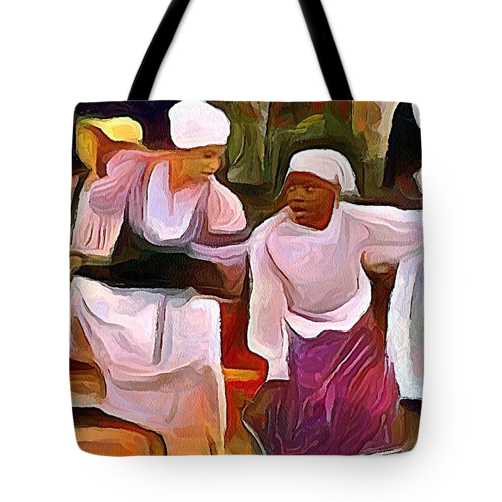 Caribbean Tote Bag featuring the painting Caribbean Scenes - Folk Dance Festival by Wayne Pascall